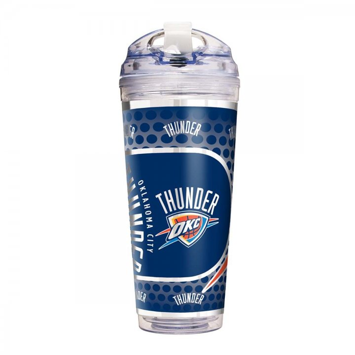 Oklahoma City Thunder NBA Oklahoma City Thunder 24 oz Double Wall Acrylic Travel Tumbler with Metallic Graphics (Clear)