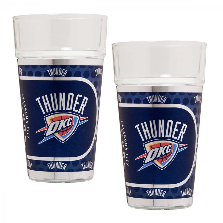 Oklahoma City Thunder NBA 2 Piece Pint Glass Set with Metallic Graphics (Clear)