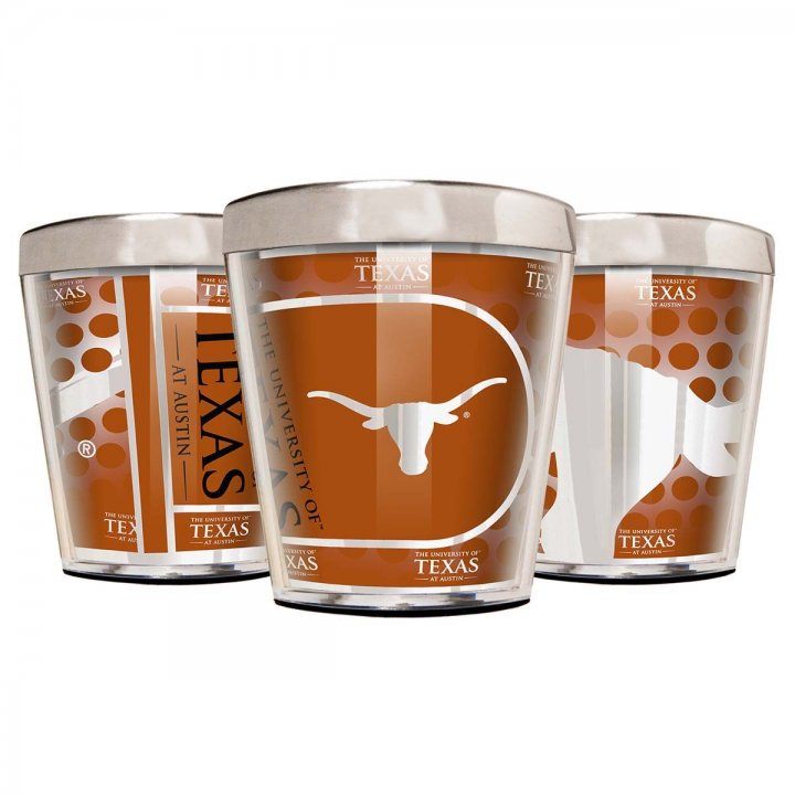 Texas Longhorns NCAA 3 Piece Stainless Steel & Acrylic Shot Glass Set with Metallic Graphics (Silver)