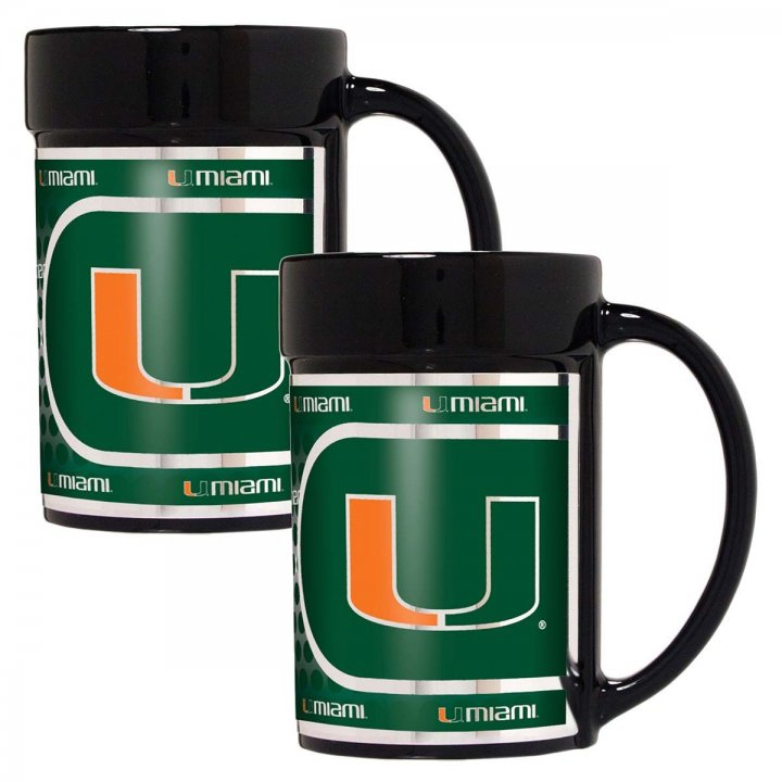 Miami Hurricanes NCAA 2 Piece Coffee Mug Set with Metallic Graphics (Black)