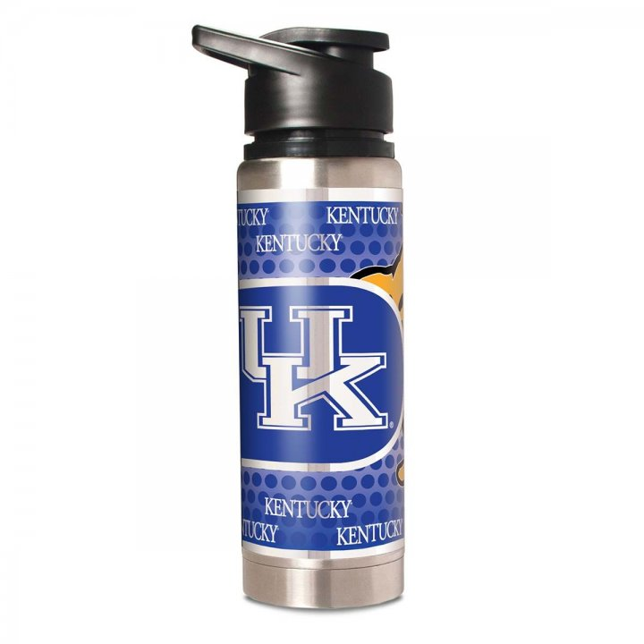 Kentucky Wildcats NCAA 20 oz Double Wall Stainless Steel Water Bottle with Metallic Graphics (Silver)