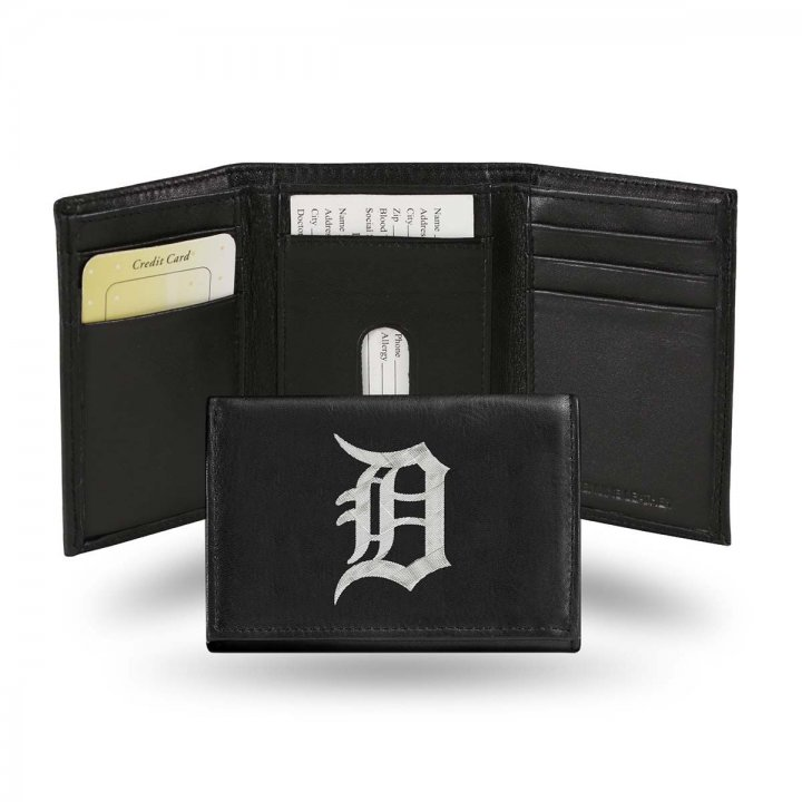 Detroit Tigers MLB Leather Trifold Wallet (Black)