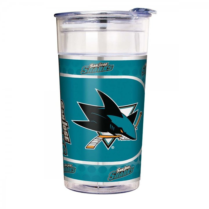 San Jose Sharks NHL San Jose Sharks 22 oz Double Wall Acrylic Party Cup with Metallic Graphics (Clear)