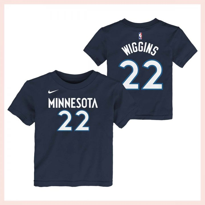 Minnesota Timberwolves NBA Andrew Wiggins Youth Flat Basic Name & Number Tee (Navy)