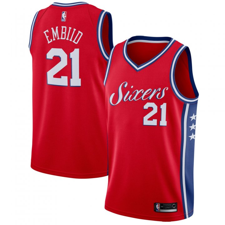 Outerstuff Youth 8-20 Philadelphia 76ers #21 Joel Embiid Jersey Red