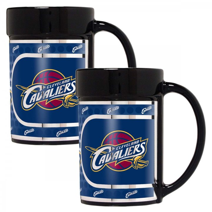Cleveland Cavaliers NBA 2 Piece Coffee Mug Set with Metallic Graphics (Black)