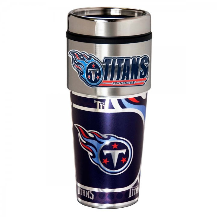 Tennessee Titans 16 oz Stainless Steel Travel Tumbler with Metallic Graphics