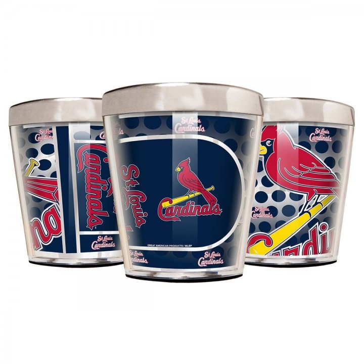 St. Louis Cardinals MLB 3 Piece Stainless Steel & Acrylic Shot Glass Set with Metallic Graphics (Silver)