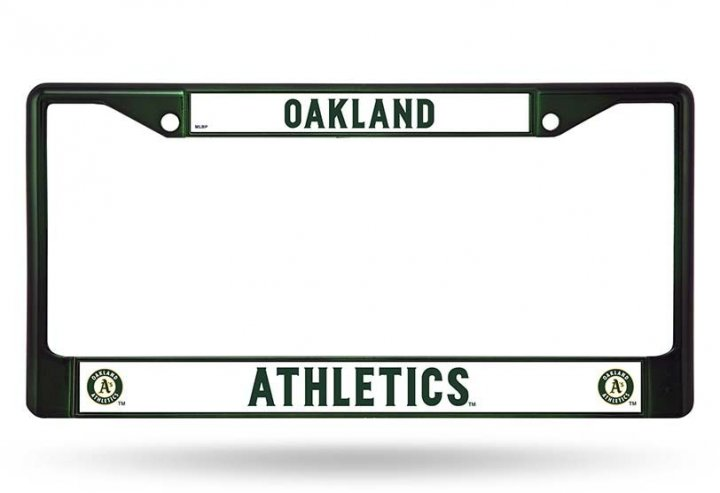 Oakland Athletics Colored Chrome License Plate Frame (Green)