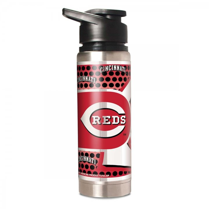 Cincinnati Reds MLB 20 oz Double Wall Stainless Steel Water Bottle with Metallic Graphics (Silver)