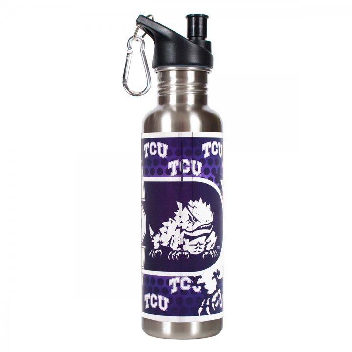 TCU Horned Frogs NCAA Texas Christian Horned Frogs 26 oz Stainless Steel Water Bottle with Metallic Graphics (Silver)