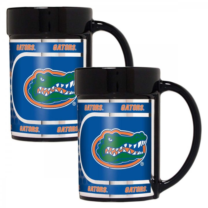 Florida Gators NCAA 2 Piece Coffee Mug Set with Metallic Graphics (Black)