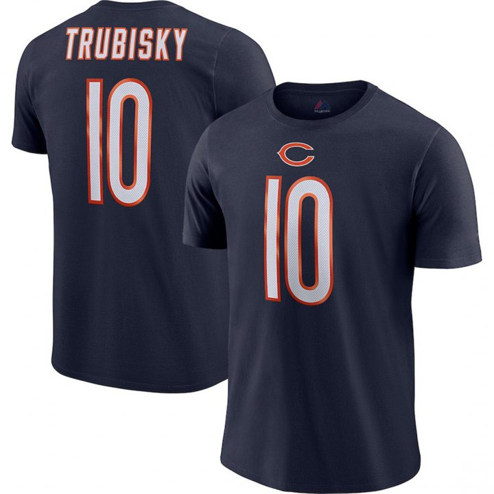 Majestic Athletic Men's Chicago Bears #10 Mitchell Trubisky Player Pride Name & Number Performance T-Shirt - Navy