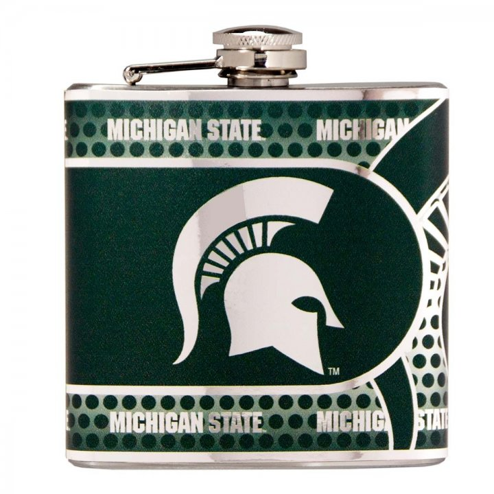 Michigan State Spartans NCAA 6 oz Stainless Steel Hip Flask with Metallic Graphics (Silver)