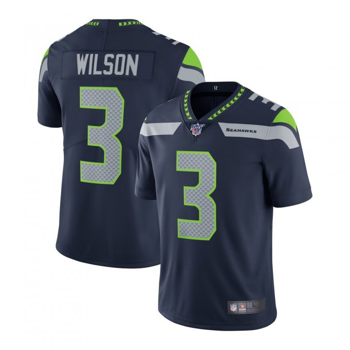 Franklin Sports Men's Russell Wilson #3 Seattle Seahawks NFL 100 Vapor Limited Jersey - College Navy