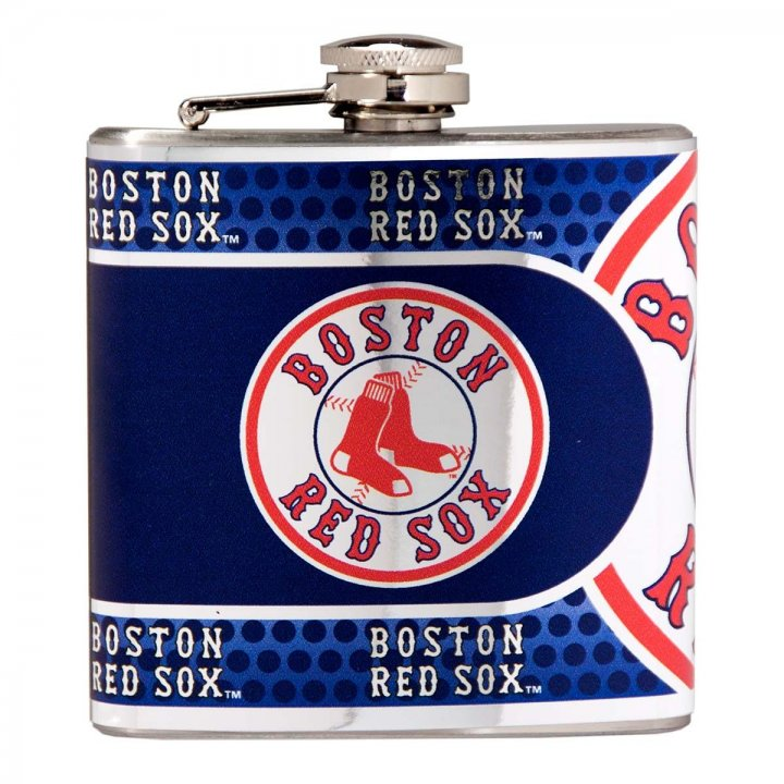 Boston Red Sox 6 oz Stainless Steel Hip Flask with Metallic Graphics (Silver)