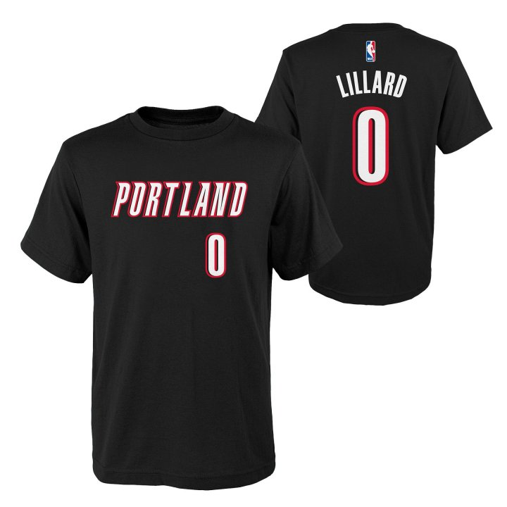 Portland Trail Blazers NBA Damian Lillard Youth Flat Basic Name & Number Tee (Black)