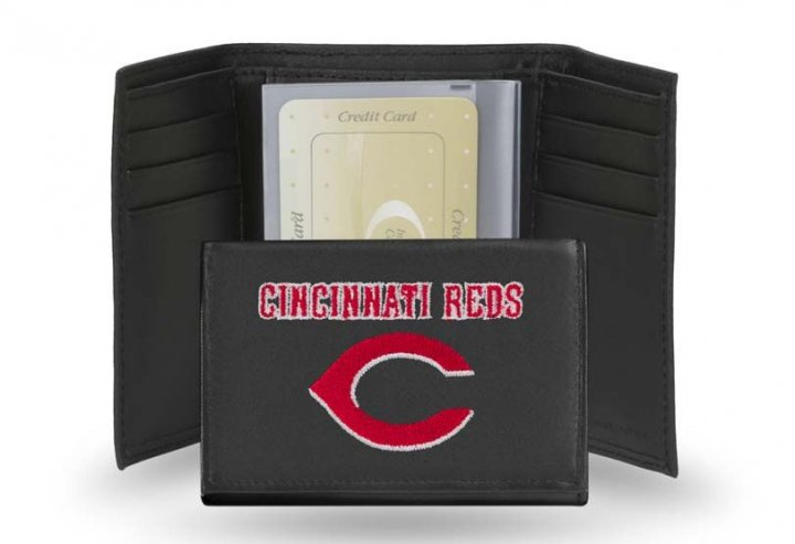 Cincinnati Reds MLB Leather Trifold Wallet (Black)