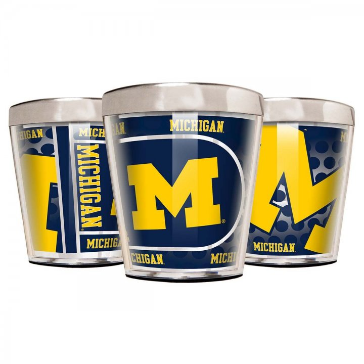 Michigan Wolverines NCAA 3 Piece Stainless Steel & Acrylic Shot Glass Set with Metallic Graphics (Silver)
