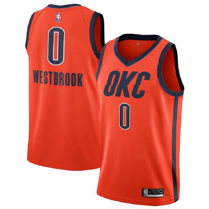Majestic Athletic Russell Westbrook #0 Oklahoma City Thunder 2018-19 Swingman Men's Jersey Orange