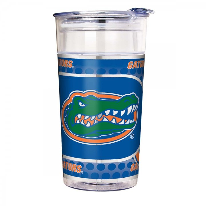 Florida Gators NCAA Florida Gators 22 oz Double Wall Acrylic Party Cup with Metallic Graphics (Clear)