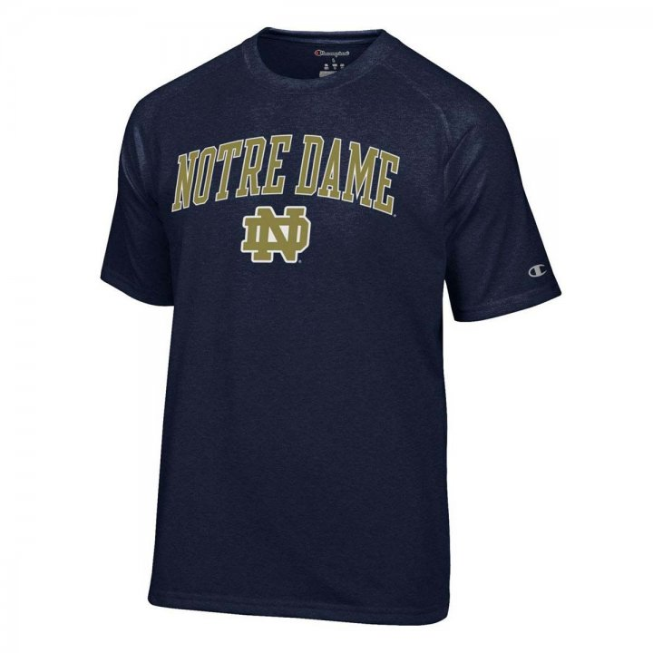 Notre Dame Fighting Irish Wordmark And Logo T-Shirt (Navy)