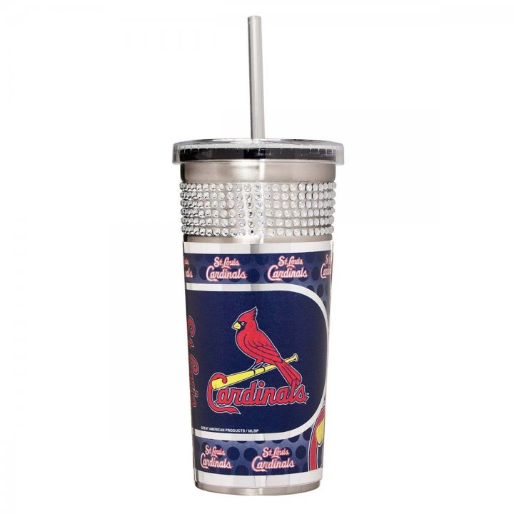 St. Louis Cardinals MLB 16 oz Silver Bling Tumbler with Straw