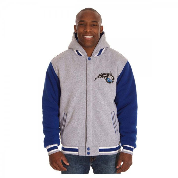 Orlando Magic Patch Program Reversible Fleece Hooded Button Snap Jacket (Royal)
