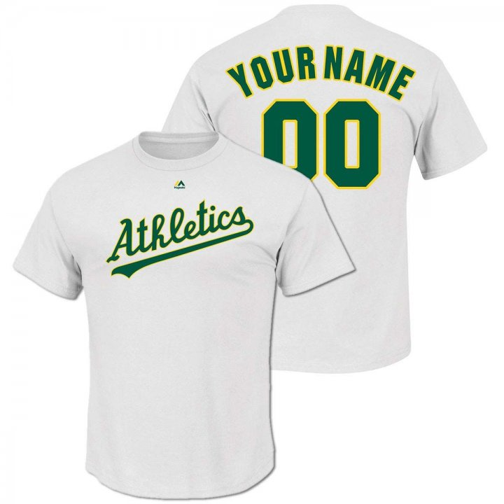 Majestic Oakland Athletics Personalized Cooperstown Cool Base Replica Jersey (White)