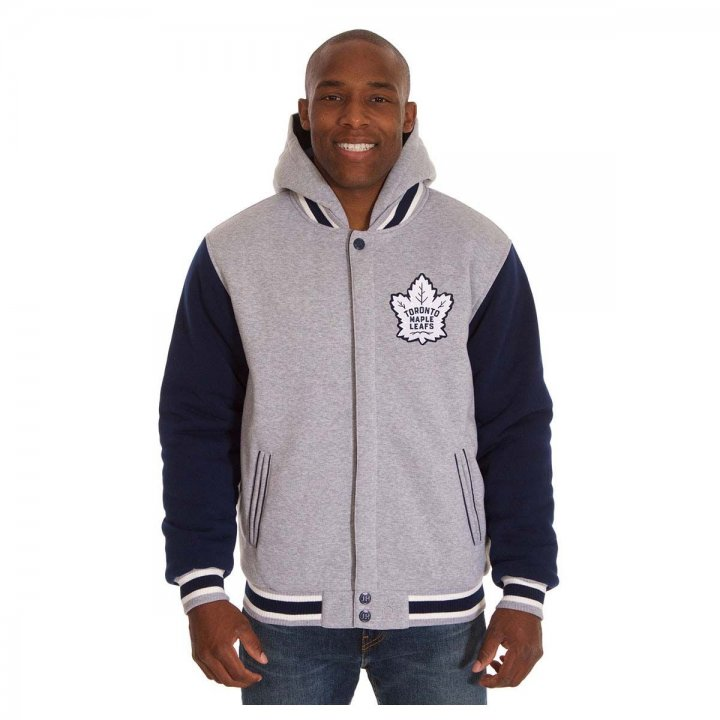 Toronto Maple Leafs Patch Program Reversible Fleece Hooded Button Snap Jacket (Navy)