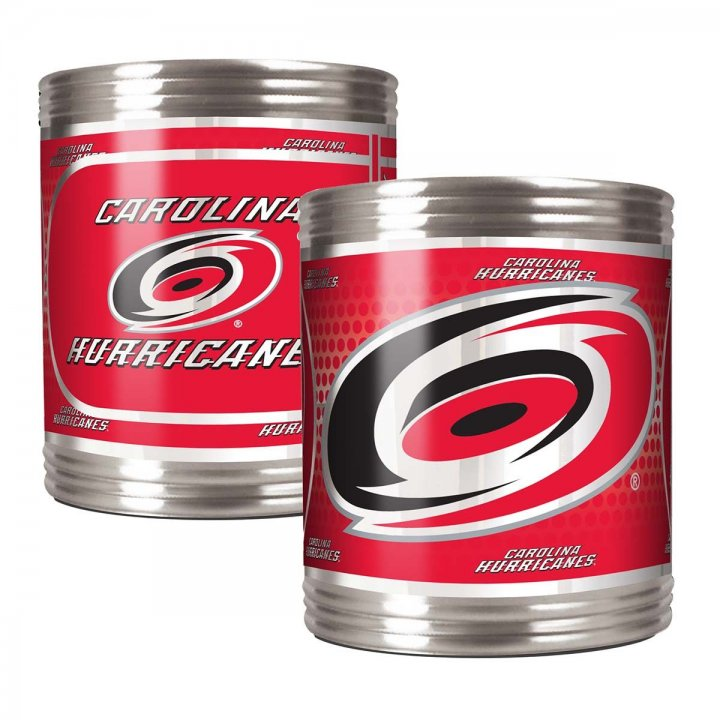 Carolina Hurricanes NHL 2 Piece Stainless Steel Can Holder Set with Metallic Graphics (Silver)