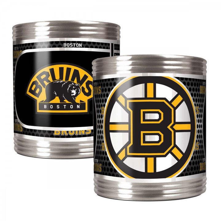 Boston Bruins Boston Bruins 2 Piece Stainless Steel Can Holder Set with Metallic Graphics