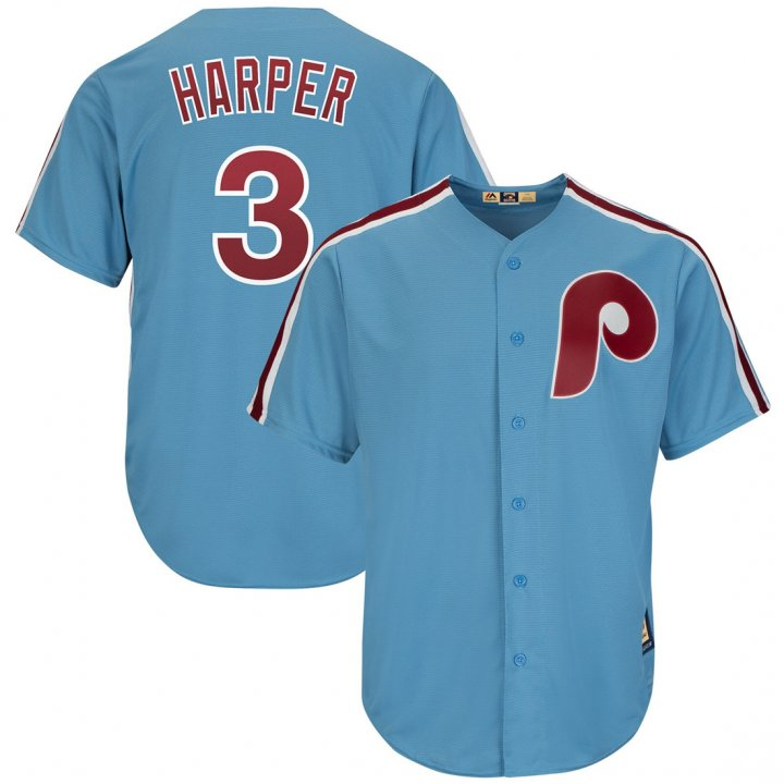Outerstuff Youth Kids Philadelphia Phillies 3 Bryce Harper Cooperstown Player Baseball Jersey Light Blue