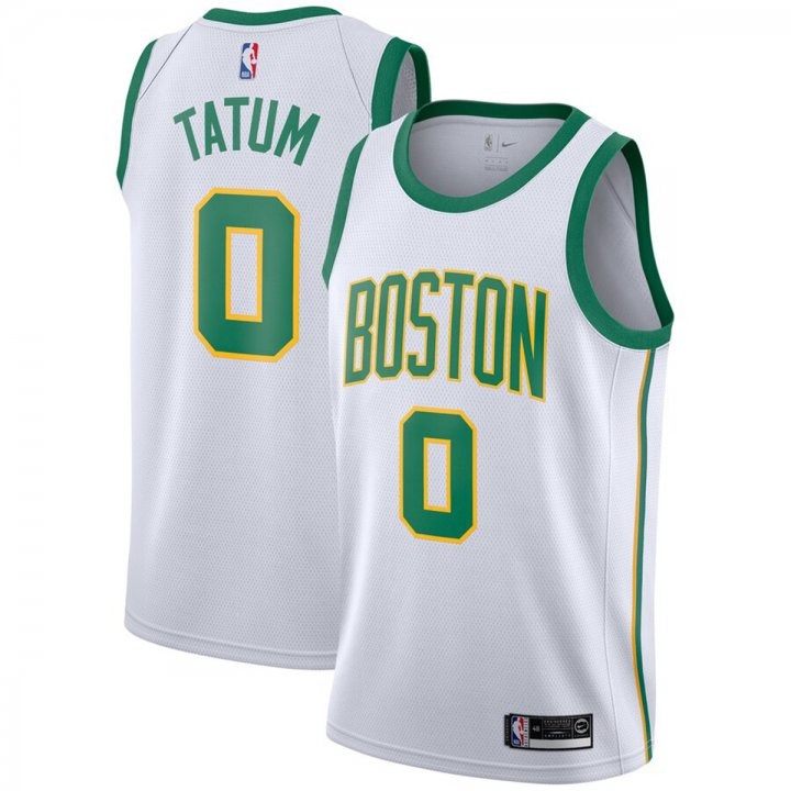 Franklin Sports Men's Jayson Tatum #0 Boston Celtics City Edition White Swingman Jersey