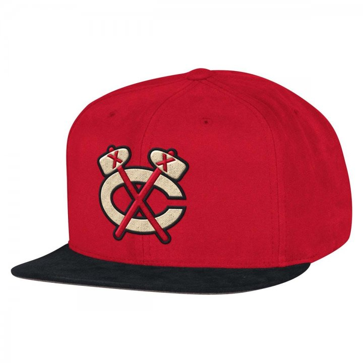Mitchell & Ness Chicago Blackhawks Sandy Off White Snapback Hat (Red)