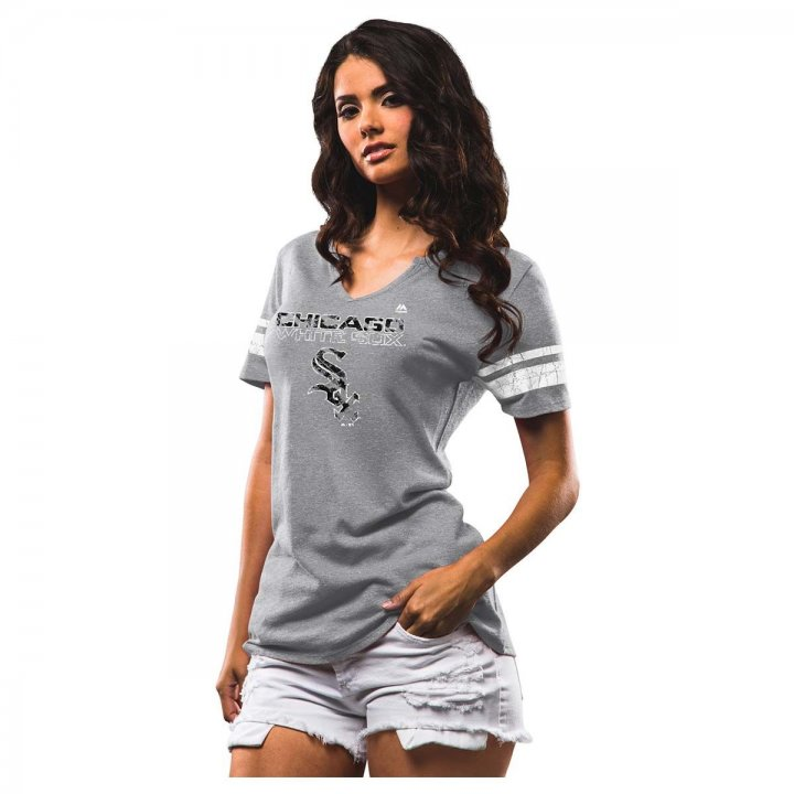 Chicago White Sox MLB Two Seamer Vnotch Tee (Charcoal)