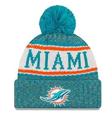 New Era Miami Dolphins NFL 18 Sideline Sport Knit Hat Teal/Orange/White Size One Size