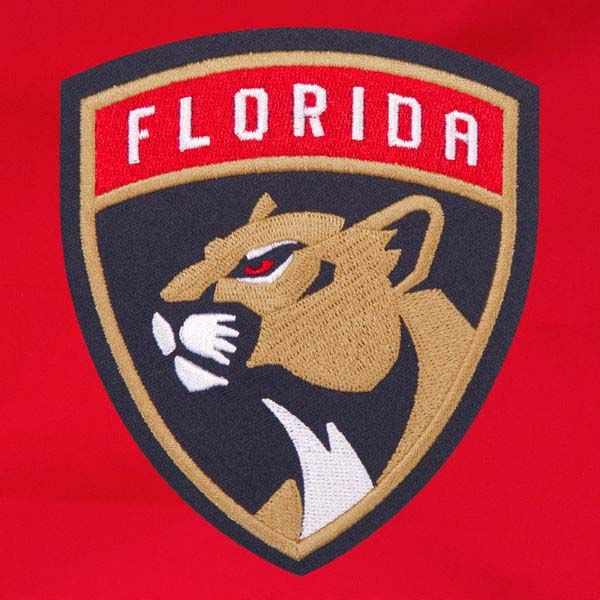 Florida Panthers Patch Program Reversible Fleece Hooded Button Snap Jacket (Red)
