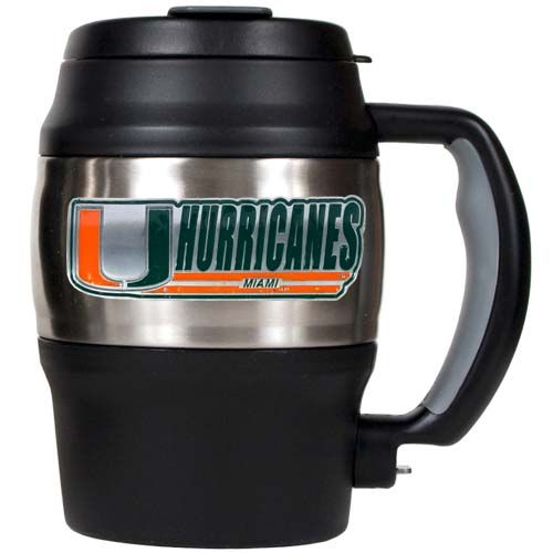 Miami Hurricanes NCAA Miami Hurricanes 20 oz Heavy Duty Insulated Mug (Silver/Black)