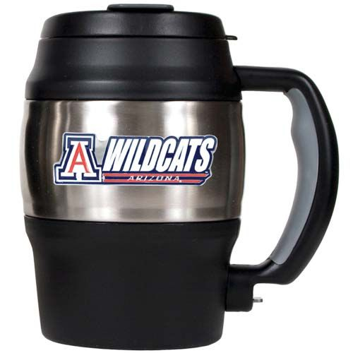 Arizona Wildcats NCAA Arizona Wildcats 20 oz Heavy Duty Insulated Mug (Silver/Black)