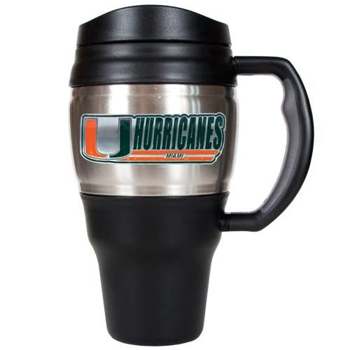Miami Hurricanes NCAA Miami Hurricanes 20 oz Heavy Duty Travel Mug (Silver)