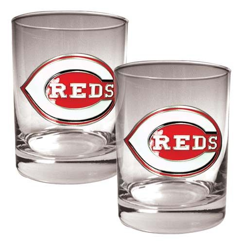 Cincinnati Reds MLB 2 Piece Rocks Glass Set (Clear)