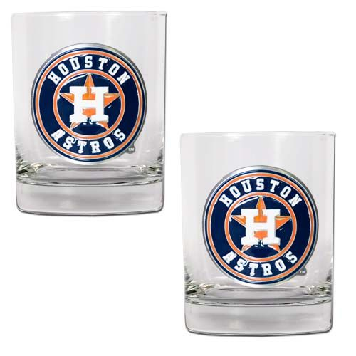 Houston Astros MLB 2 Piece Rocks Glass Set (Clear)