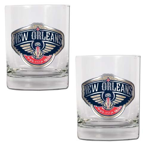 New Orleans Pelicans NBA 2 Piece Rocks Glass Set (Clear)
