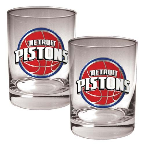 Detroit Pistons NBA 2 Piece Rocks Glass Set (Clear)