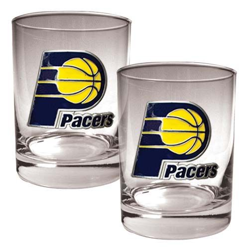 Indiana Pacers NBA 2 Piece Rocks Glass Set (Clear)