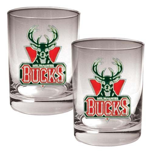 Milwaukee Bucks NBA 2 Piece Rocks Glass Set (Clear)