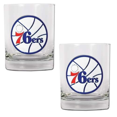 Philadelphia 76ers NBA 2 Piece Rocks Glass Set (Clear)