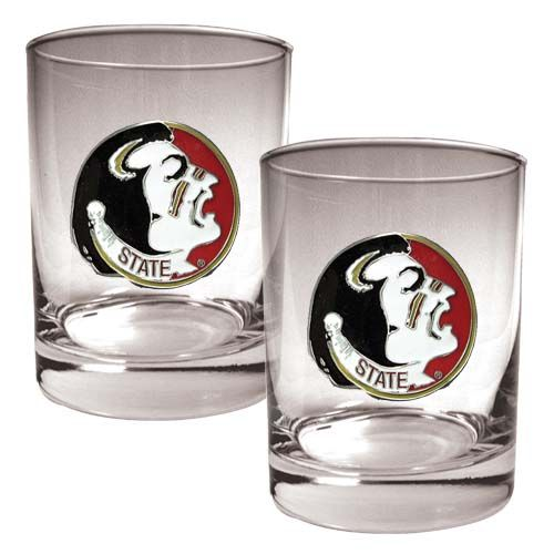 Florida State Seminoles NCAA 2 Piece Rocks Glass Set (Clear)