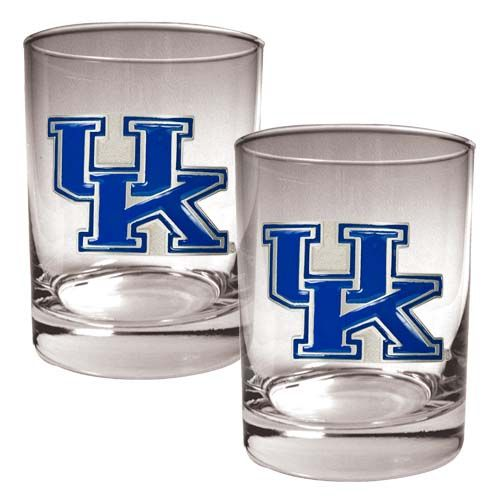 Kentucky Wildcats NCAA 2 Piece Rocks Glass Set (Clear)